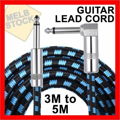 AU14.45 • Buy 3M & 5M Guitar Lead 1 Right Angle Jack Noiseless Braided Tweed Instrument Cable