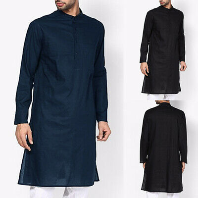 INCERUN Men's Long Sleeve Tunic Shirt Collarless Neack Button Causal Kaftan Tops • 10.98£