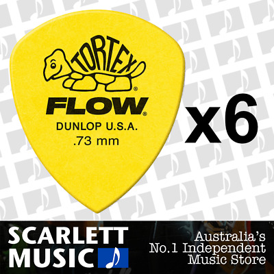 AU5.45 • Buy 6 X Jim Dunlop Tortex FLOW 0.73MM Gauge Guitar Picks *NEW* 558R Plectrums