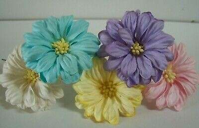 Mulberry Paper Flowers Daisy 5cm Flower With Wire  Varied Colours  Pink White • 2.99£