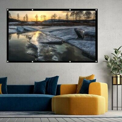 £7.99 • Buy 120  Inch Projector Projection Screen 16:9 White Matte 3D HD Home Cinema Theater