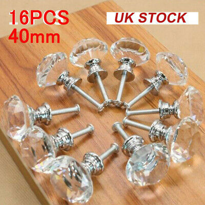 16x40mm Diamond Crystal Glass Door Knobs Drawer Cabinet Furniture Kitchen Handle • 9.99£