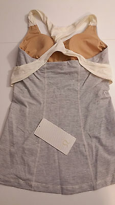 $ CDN72 • Buy Lululemon Sz 6 NWT Spin Me Tank Top Gray Ghost Mini Stripe Soft Yoga Lux Pads