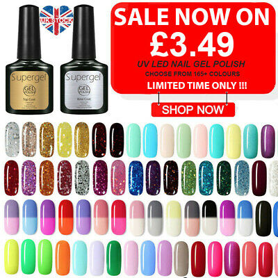 SGP SUPER GEL UV LED Colour Glitter Base Top Coat Soak Off Gel Nail Polish UK • 3.95£