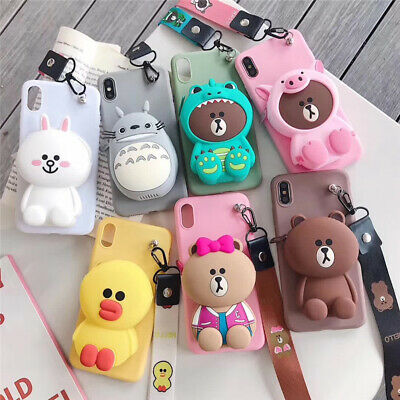 3D Cartoon Brown Bear Stitch Cat  Wallet Soft Phone Case Cover For Apple IPhone • 3.94£