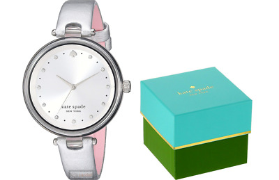 $ CDN75.92 • Buy Kate Spade NY Holland Three-Hand Lucite Silvertone Leather Watch KSW1516 NEW!