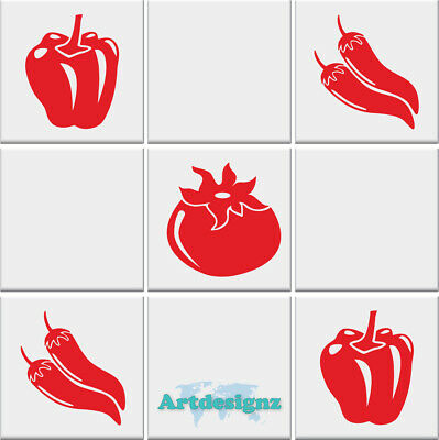 Kitchen TOMATO CHILLI PEPPER Vegetable Tile Stickers Vinyl Wall *3 DESIGNS* • 4.49£