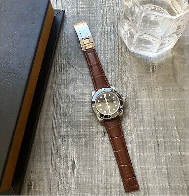 Brown Leather Watch Strap Band 20mm For Rolex Daytona Submariner GMT Datejust • 34.99£