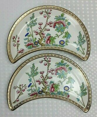 Sampson Bridgwood - Indian Tree - 2x Cresent Moon Side Plates - Made For Harrods • 35£