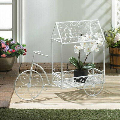 Tricycle Plant Pot Holder Flower Cart In White Iron Garden Or Home Decor Stand  • 119.80$