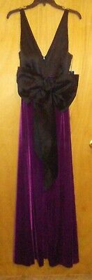 $40 • Buy NEW Aidan Mattox Charmeuse Bow Gown With Velvet Skirt Size 14 (Color: Plum)