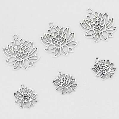 $ CDN3.93 • Buy 10pcs Antique Silver Open Lotus Flower Filigree Charms Pendants Jewelry Findings