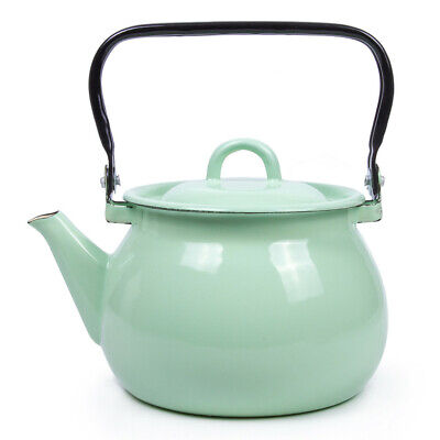 $29.95 • Buy 2.7qt Green Enameled Steel Kettle Teapot From Ukraine Top Quality Sturdy Durable