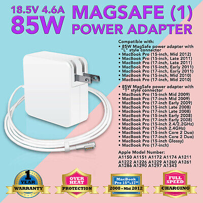$15.93 • Buy 85W AC Power Adapter Supply Charger For Apple MacBook Pro  15  17  2008 A1172