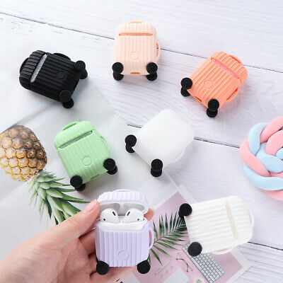 $ CDN3.37 • Buy Skin Silicone Case Cover Luggage Bag Earphones Pouch For Apple AirPods 1 2