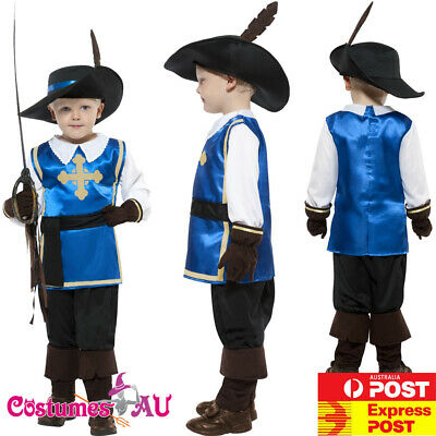 Child Musketeer Costume Boys Medieval Renaissance French Cavalier Kids Book Week • 11£