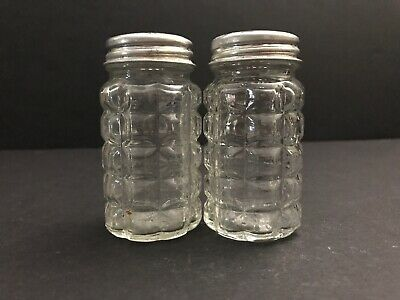 VTG Anchor Hocking Clear Glass Salt Pepper Shakers / Waffle Design Aluminum Lids • 13.95$