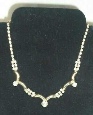 $ CDN23.08 • Buy Vintage Rhinestone Necklace, Large Center Lots Of Smaller Stones 16  Gold Tone