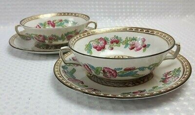 Sampson Bridgwood - Indian Tree - 2x Soup Coupes & Saucers - Made For Harrods • 28£