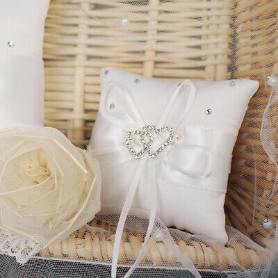 Wedding Ring Bearer Pillow - Ivory Satin Cushion Bearer With Double Hearts • 8.98£