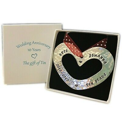 Personalised 10th Anniversary Tin Gift. Heart Wall Hanging, Stamped 2011-2021 • 25£