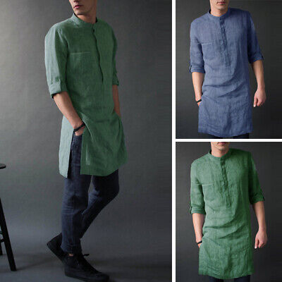 UK Mens Cotton Blouse Baggy Kaftan Kurta T-shirt Casual Tops Loose Shirts Autumn • 9.99£