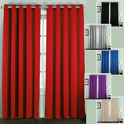 Thermal Blackout Curtains Pair Ring Top Eyelet Ready Made Super Soft • 13.69£