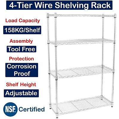 Chrome Wire Heavy Duty Commercial Kitchen Office 4 Tier Shelving Unit • 69.99£