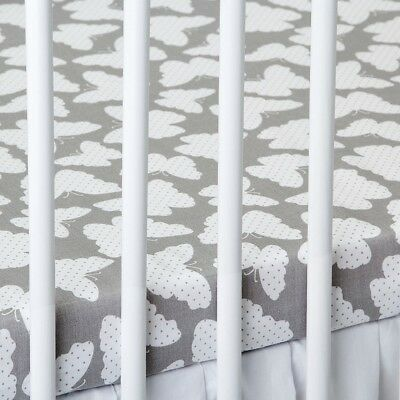 2 X COT BED FITTED SHEET Grey Butterflies 60x120 Cm 70x140 Cm PURE COTTON • 9.99£