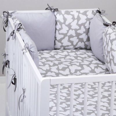 PILLOW BUMPER Made Form 6 Cushions GREY BUTTERFLIES / GREY Cot / Cot Bed  • 24.99£