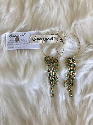$ CDN40.59 • Buy New Anthropologie Cloverpost Jaya Dangle Hoop Blue Stone Earrings $168 Rare