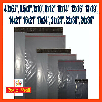 Grey Mailing Bags Plastic Royal Mail Large Letter Small Medium Parcel Postal Bag • 3.49£
