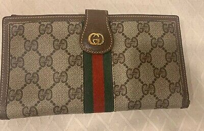 $289 • Buy GUCCI Vintage Coated Canvas Long Wallet Clutch GG Monogram Brown Leather