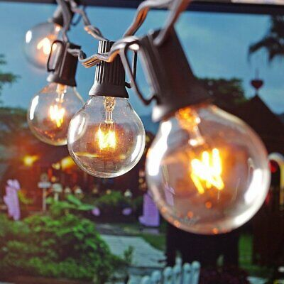 25ft Weatherproof Globe String Festoon Lights 25X Clear Bulbs G40 Indoor Outdoor • 12.49£