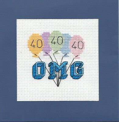 £4.75 • Buy Cross Stitch Card Kit - 40th Birthday Anniversary - 14 Count - includes Card