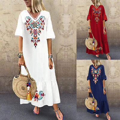 AU17.47 • Buy ZANZEA 8-24 Women Maxi Long Sundress Full Length Kaftan Party Beach Floral Dress