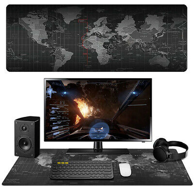 Extended Gaming Mouse Pad Large XXL World Map Desk Mat Computer Keyboard Black • 6.97£