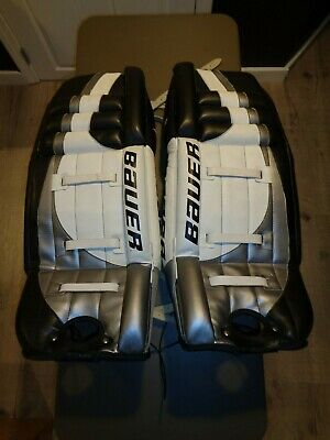 $349.99 • Buy BAUER Senior Goalie Pads 32  BPPSRGP Ice Hockey NHL Black White *Great Shape*