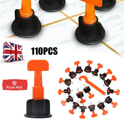 110pcs Floor Wall Tile Leveler Tools Construction Reusable Tile Levelling System • 12.29£
