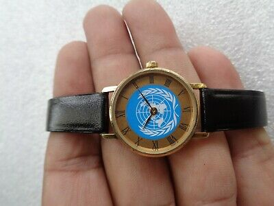 £49.99 • Buy Rare Quartz Ladies Gold Plated Watch With Uno United Nation Organisation Logo