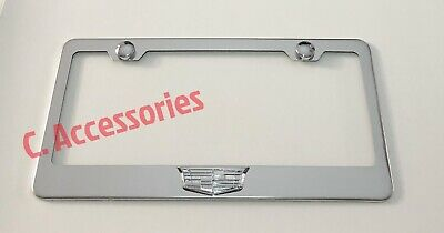 $19.99 • Buy Silver For Cadillac 3D Raised Stainless Steel Finished License Plate Frame
