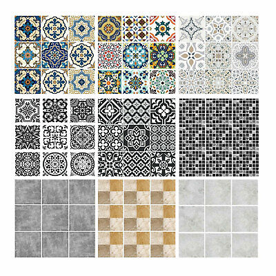 Tile Wall Stickers Transfers Moroccan Mosaic Pattern Home Self-Adhesive Sticker • 5.99£