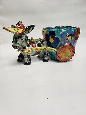 Vintage Donkey Pulling A Flower Cart Planter Made In Italy • 49.99$