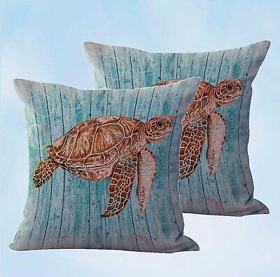 £15.50 • Buy  2 Pcs Turtle Nautical Cushion Covers Decor Home Accessories