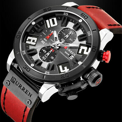AU30.98 • Buy Quartz Watches Sports Waterproof Chronograph Men's Calendar Leather Wrist Watch
