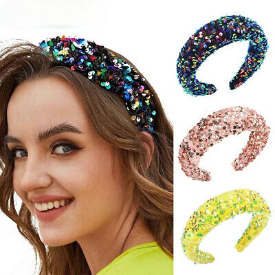 $2.98 • Buy Women's Sequin Padded Headband Hairband Wide Hair Band Hoop Accessories Costume