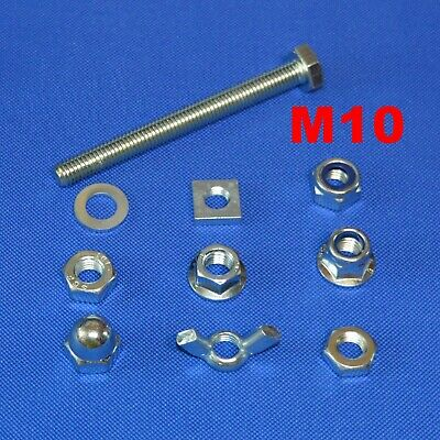 £4.75 • Buy M10 SET SCREWS FULL THREAD BOLTS WITH NUTS AND WASHERS  M10 BZP BOLT 10mm DIA