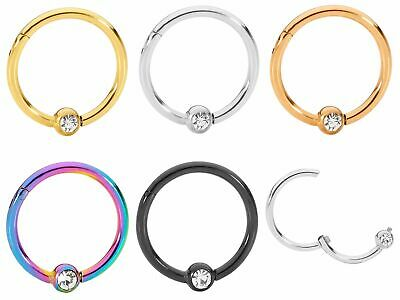 AU10.99 • Buy 1 Piece Stainless Steel Gem Segment Ball Closure Ring - 18G - Sold Individually