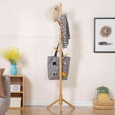 AU29.99 • Buy Wooden Coat Stand Rack Clothes Hanger Hat Tree Jacket Bag Umbrella Hook Storage