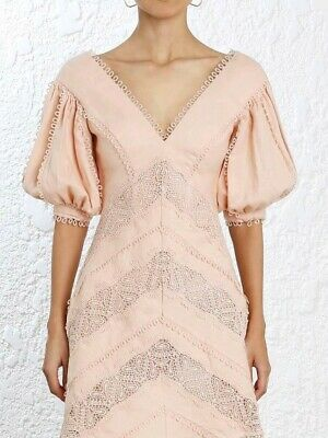 NEW Apricot Painted❤Zimmermann Look Summer Chevron Embroidered MIDI DRESS  0/1/2 • 275$